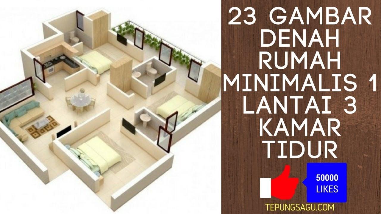 14 Model Desain Denah Rumah Minimalis Modern 1 Lantai 3 Kamar Paling Banyak di Cari
