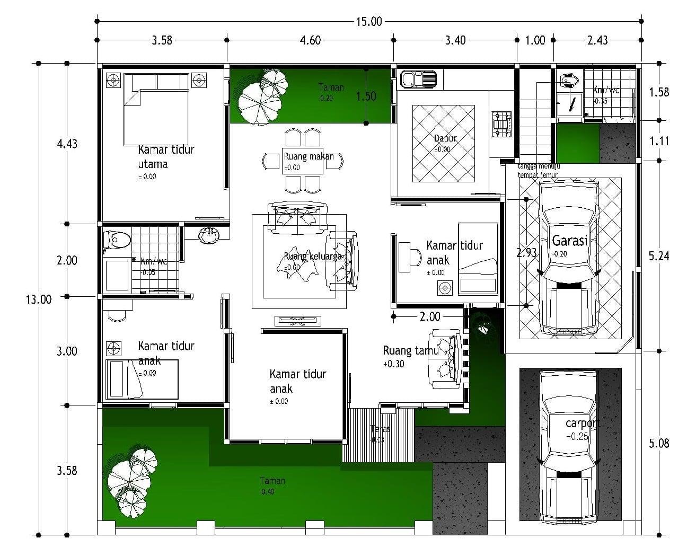 24 Model Desain Denah Rumah Mewah 1 Lantai 5 Kamar Tidur Terbaru Dan Terlengkap Deagam Design