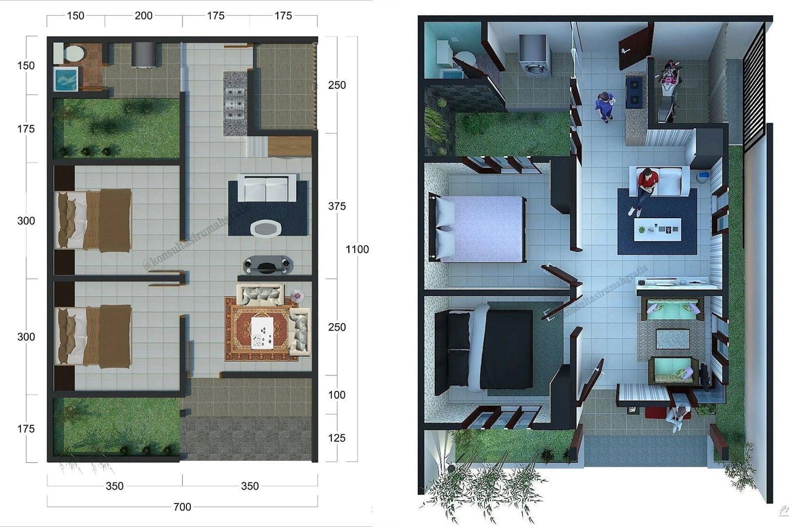 38 Ide Desain Denah Rumah Minimalis Sederhana 2 Lantai ...