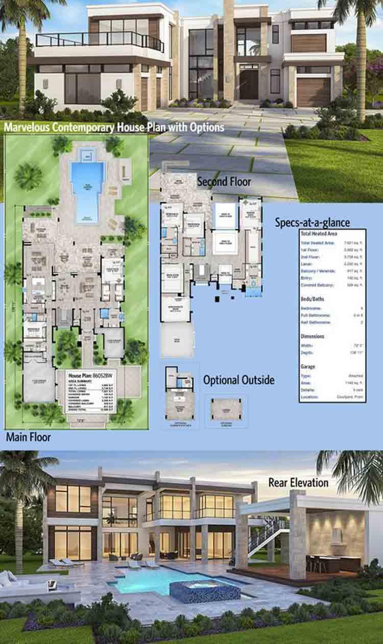Desain Denah Rumah Mewah 2 Lantai Dengan Kolam Renang Archives Deagam Design