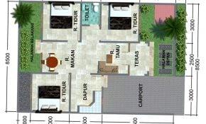 44 Ragam Desain Denah Rumah Minimalis Modern 1 Lantai 3 Kamar Paling Banyak di Minati