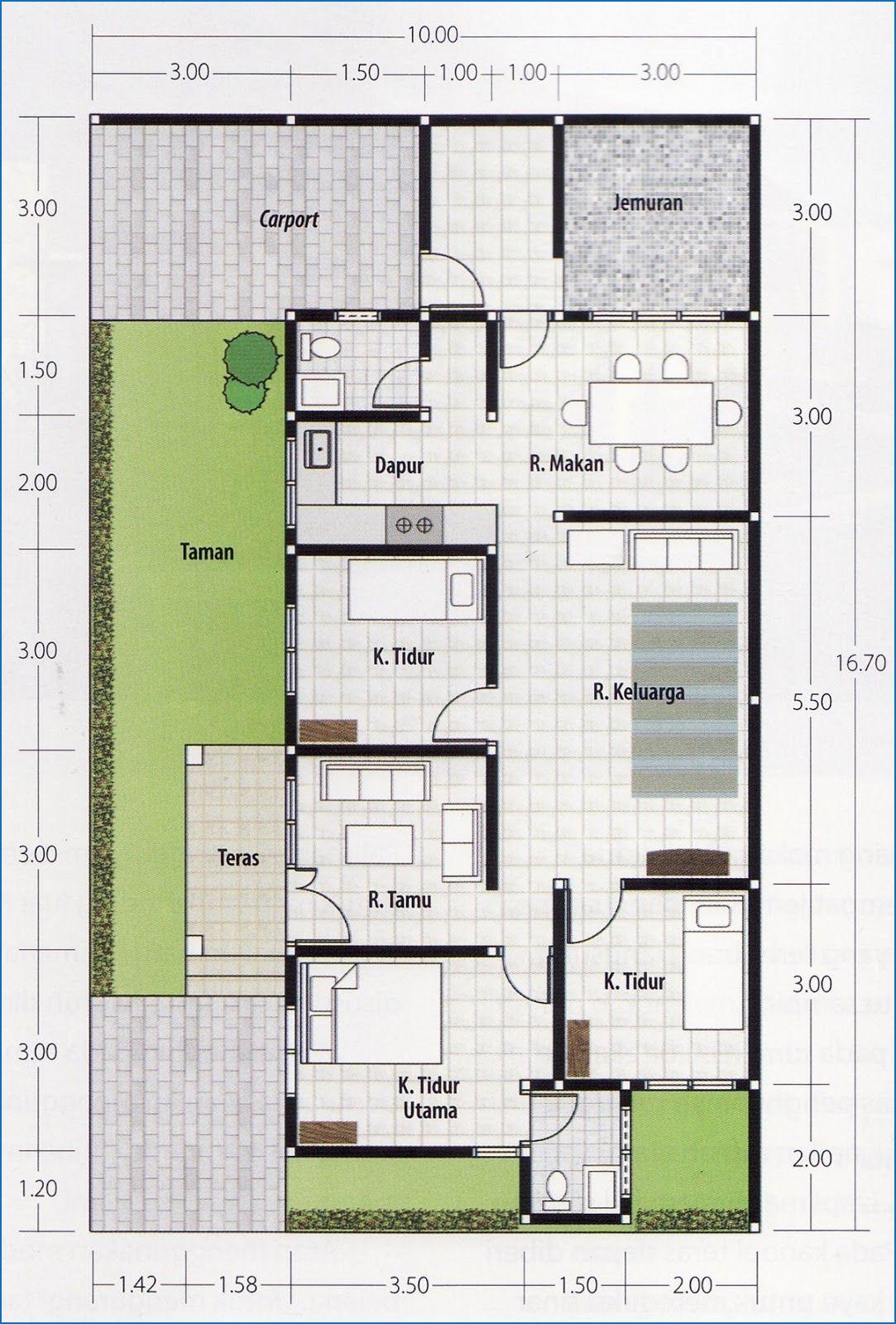 72 Ide Desain Denah Rumah Minimalis Modern 1 Lantai 3 Kamar Terbaik Masa Kini