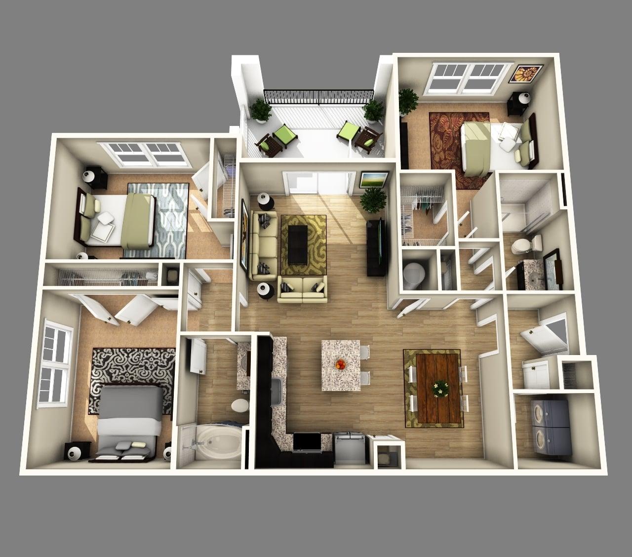 73 Contoh Desain Denah Rumah Minimalis Modern 1 Lantai 3 Kamar Terbaru dan Terlengkap