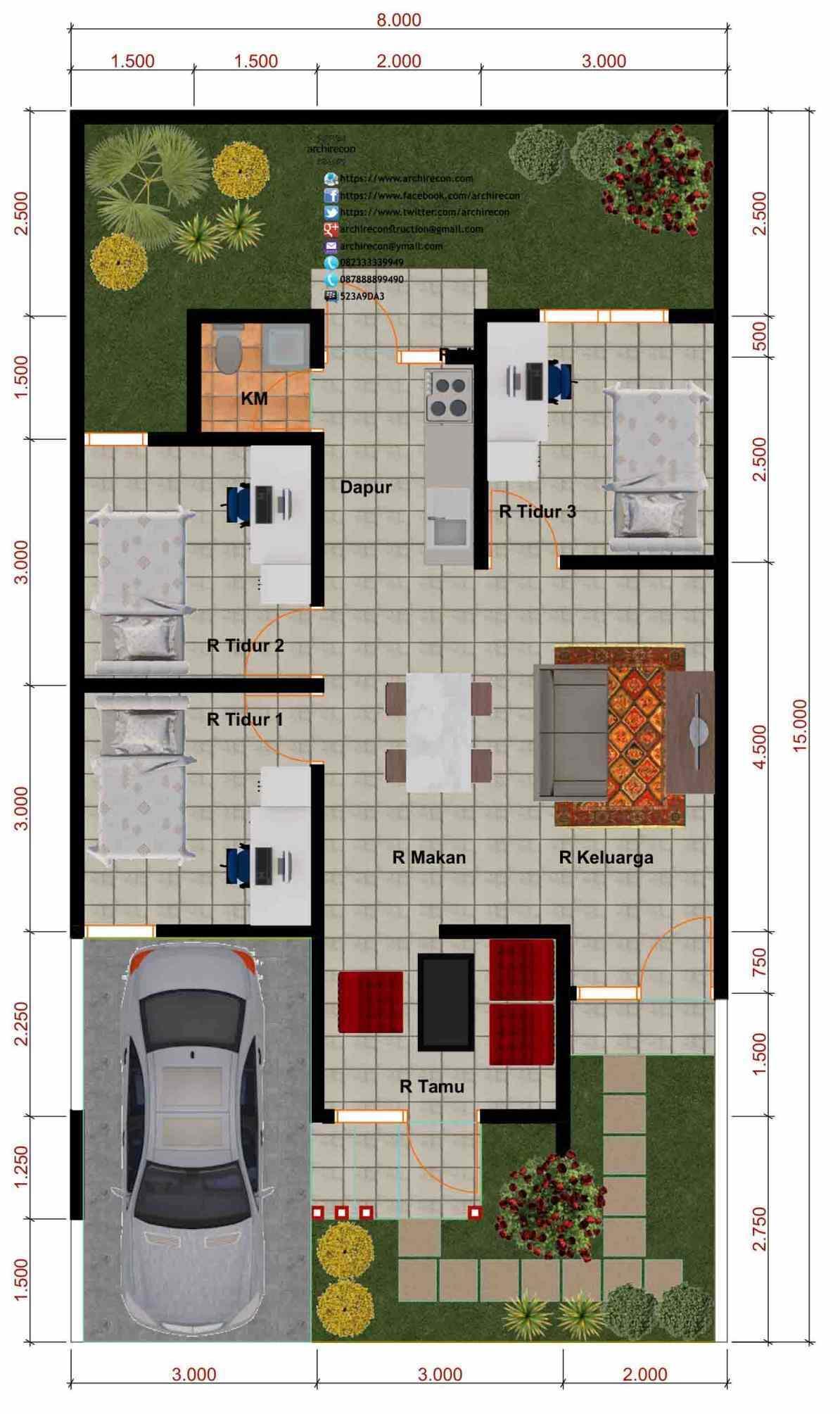 74 Ide Desain Denah Rumah Klasik 3 Kamar Tidur Kreatif Banget Deh - Deagam Design