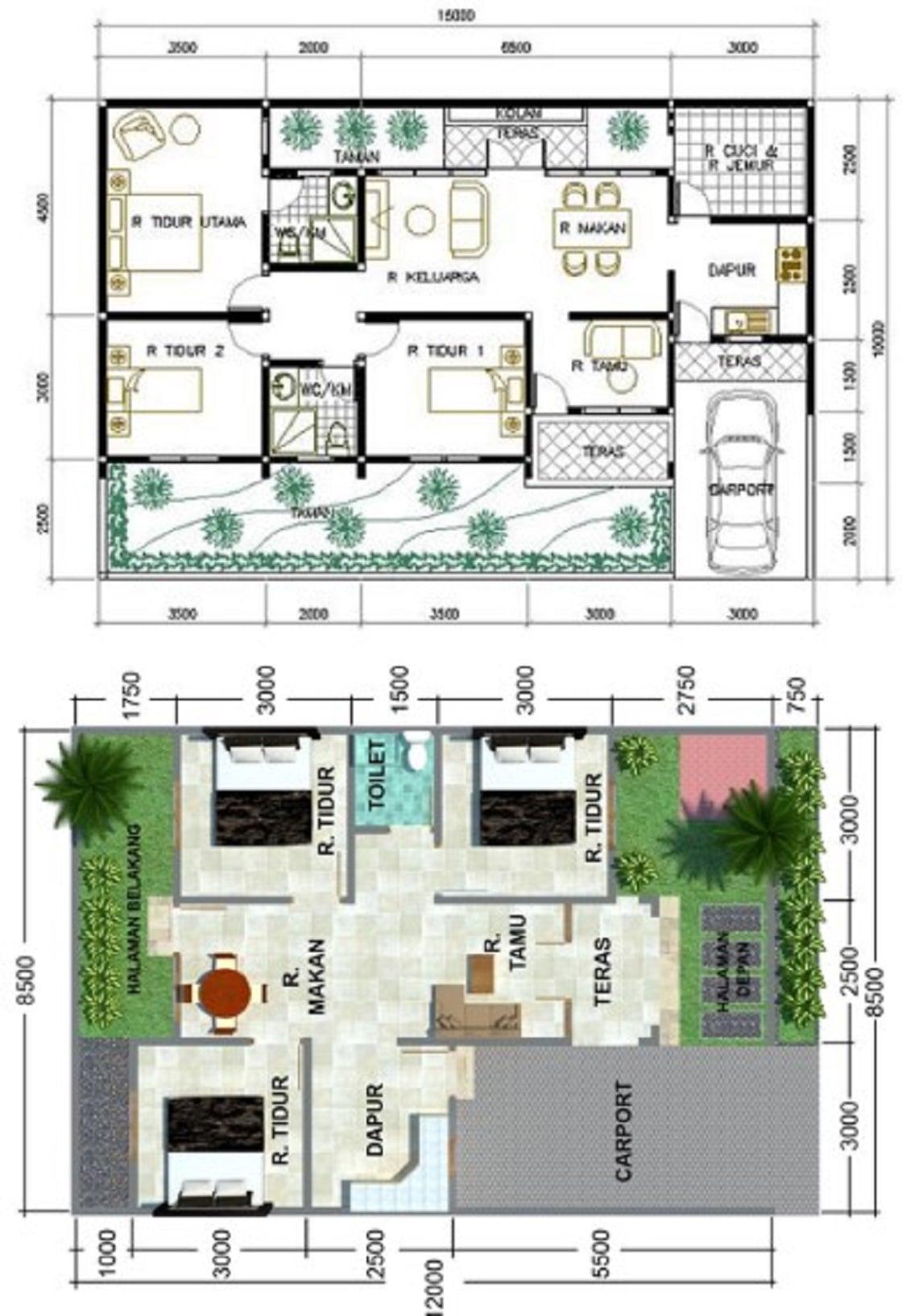 81 Arsitektur Desain Denah Rumah Minimalis Modern 1 Lantai 3 Kamar Kreatif Banget Deh