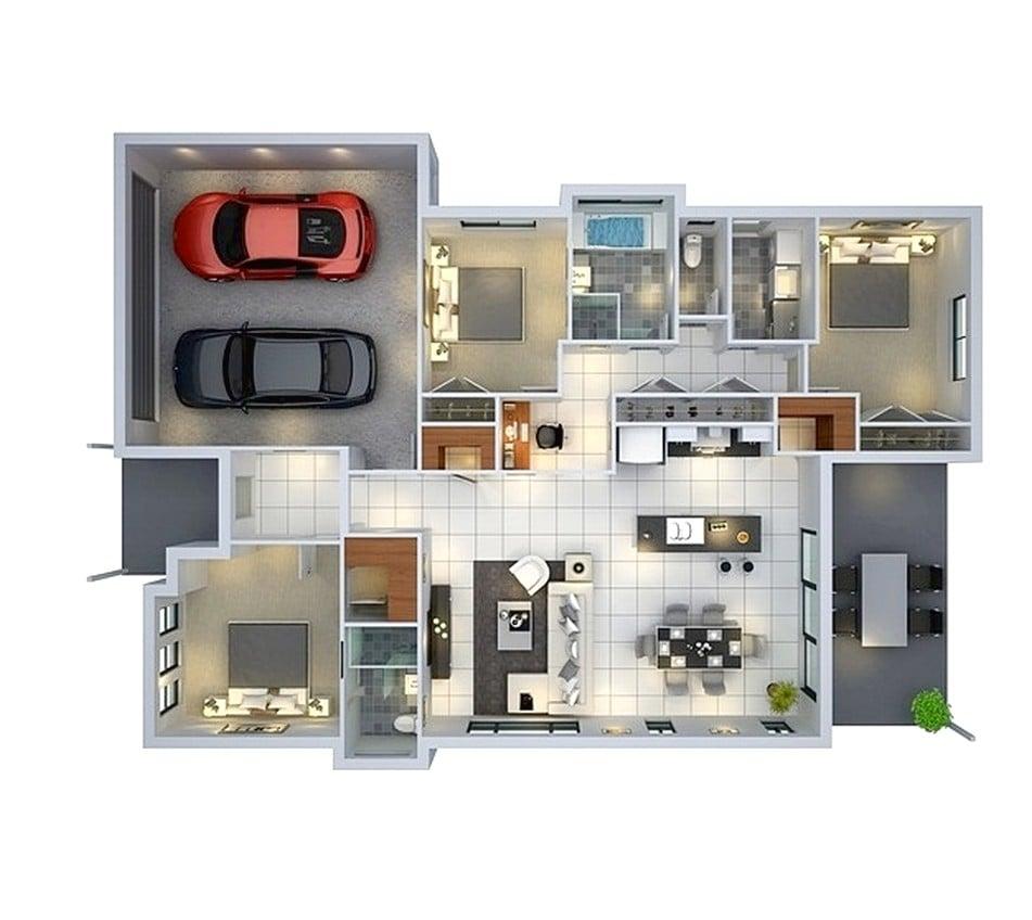 93 Contoh Desain Denah Rumah Minimalis Modern 1 Lantai 3 Kamar Paling Populer di Dunia